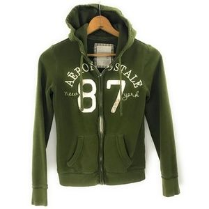 Aeropostale Womens Olive Green Zip Up Hoodie, M